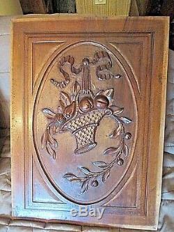 Paire-panneaux de portes anciens sculptés-paniers de fruits-carved wood-noyer
