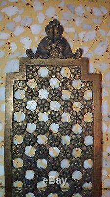 Paire plaque de propreté en bronze haut 50 cm, larg 7,4 cm ornemants déco