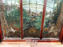 Panneau en verre peint façon vitrail Décor de paysage XX siècle