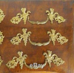 Parure Louis XIV Poignées X 6 bronze et X3 entrées de serrure