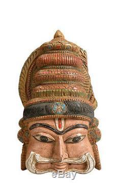 Peinte Masque en bois sculpture INDE DU SUD LUXURY Park