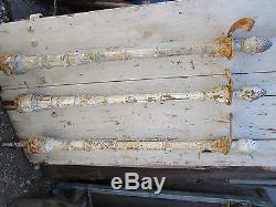 Pilastre avec boule pigne rampe d'escalier fonte décorée ancienne haut 106 cm