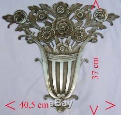 Plaque Ornementale Bronze 1925-1930 Corbeille de Fleurs Art Deco