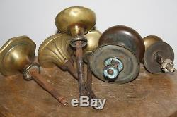 Poignée bouton de porte ronde laiton ancienne lot de 8