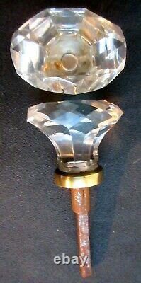 Poignée de porte XIXème 2 olives cristal à facettes viroles laiton, Napoléon III