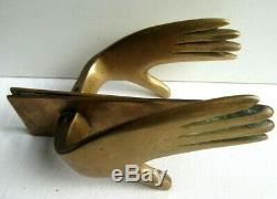 Poignée de porte complète contemporaine vintage, bronze doré, forme de mains