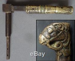 Poignée de porte en bronze avec tête de cheval 19e siècle Perse Inde