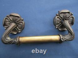 Poignée déportée longueur 24,5 cm rosaces ancienne fonte & laiton porte d'entrée