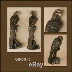 Poignée paire bronze porte perroquet design decoration maison art animalier