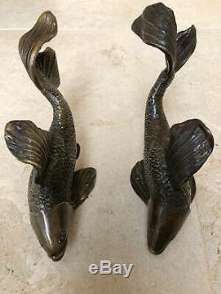 Poignée paire bronze porte poisson japonais design decoration maison art animal