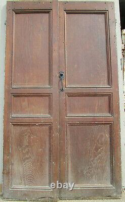 Porte 2 vantaux communication bois châtaignier ancienne 213 X 122 cm