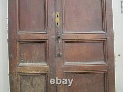 Porte 2 vantaux tierce communication bois châtaignier ancienne 206 X 103 cm