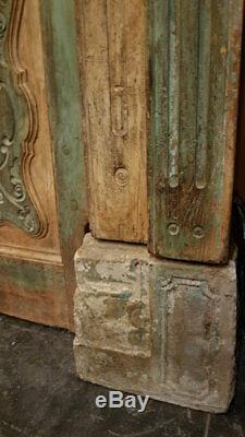 Porte Indienne Jaune Verte Sculptee Patine d'Origine Vieux Teck 121x15x205cm