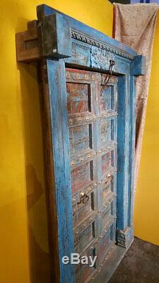 Porte Indienne Krishna Bleue Sculptee Patine d'Origine Vieux Teck 145x15x215cm