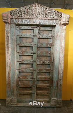 Porte Indienne Krishna Sculptee Ancienne Patine d'Origine Vieux Teck 145x15x250