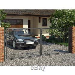 Porte battante double 400x150cm anthracite Porte d'entrée + Verrouillage 3 clés