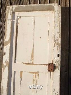 Porte bois XIX dessous escalier maison troglodyte placard cave serrure 133 X 56