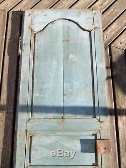 Porte bois XIX maison service placard cave serrure décor à la coquille