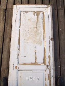 Porte bois XIX maison service placard cave serrure montant clé fonctionne