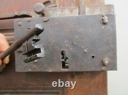 Porte chantourné bois Noyer ancienne moustaches serrure clef clenche 197X 99 cm