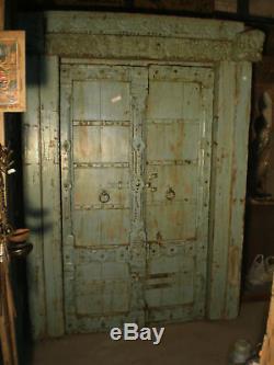 Porte d'entree en Teck du Rajasthan, Inde XIX°