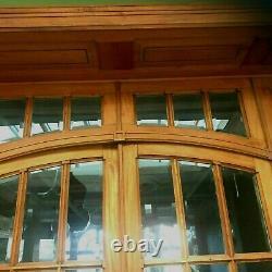 Porte de séparation a quatre vantaux et imposte en bois naturel Carreau a biseau