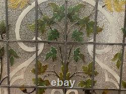 Porte et imposte en vitraux Art Déco début XX siècle Décor floral