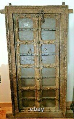 Porte ou fenêtre de maison Rajasthan Inde XIX° Bois sculpture ciselée