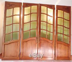 Porte verrière artisanale merisier massif 4 pans vitrées verres soufflés