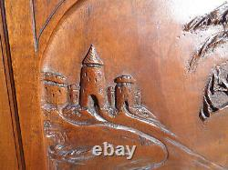Portes Anciennes Meuble Bois sculpté chasse cerf chateau fort carved wood noyer