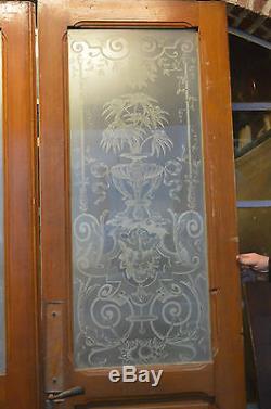 Portes De Separation Avec Des Verres Graves En Sapin / 139 Cms X 2m50 De Haut