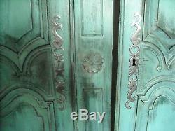 Portes armoire anciennes en chêne restaurées style Shabby finition cirée