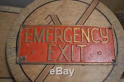 Rare Plaque Bronze Laiton Emergency Exit Idéal Déco Loft Enseigne