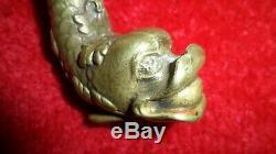 Rare ancienne poignée porte bronze dauphin déco serrure maison objet collection