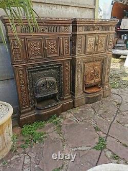 Rare et ancienne Façade De Cheminée En Fonte