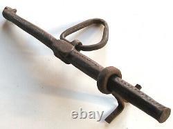Rare grand verrou cochonnier ancien fer forgé ciselé XVIIIe serrures portes