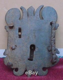Rare magnifique ancienne serrure en fer forgé époque 17 / 18 ème n°2
