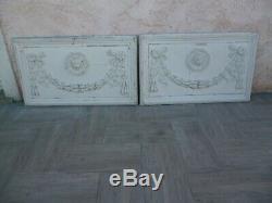 Rare paire de panneaux dessus de porte bois et stuc xviii xix style louis xvi