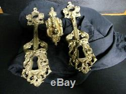 Rares Anciennes Entrees De Serrures + Poignee De Porte Bronze Cherubins/puttis