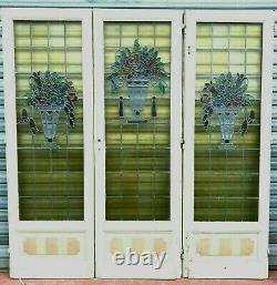 Séparation de trois portes en vitraux Art Déco Epoque 1900