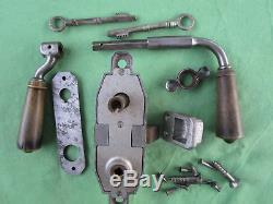 Serrure Alu Gollot 2 clefs béquilles corne porte gauche magasin bar carré de 8