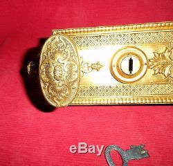 Serrure De Surete Bronze Dore Estampillee S. T. Chateau Maison De Maitre