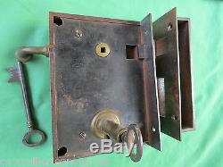 Serrure à tirage 2 clefs fer & laiton gâche ancienne porte entrée pousse gauche