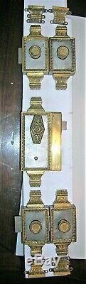 Serrure ancienne fer et bronze verrous poignée porte fenetre chateau maison FT