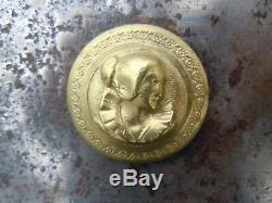 Serrure de porte fer bronze poignée bronze buste personnage d'époque 19ème