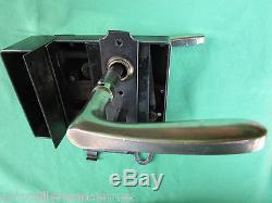 Serrure gâche 1 clef fer à verrouillage & blocage 2 poignées laiton ancien porte