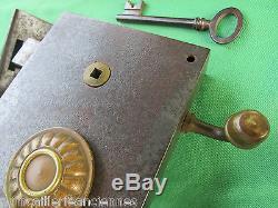 Serrure gâche à tirage 2 clefs fer & laiton ancienne porte entrée pousse gauche