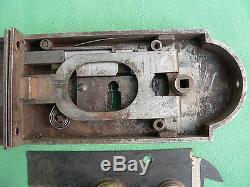 Serrure + gâche fer & décor laiton ancienne porte droite carré de 6