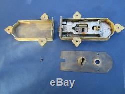 Serrure gâche fer & laiton ancienne porte droite pour carré de 6