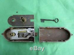 Serrure gâche fer & laiton clef ancienne HD porte gauche pour poignée carré de 6